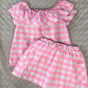 Cat & Jack Pink Gingham Set Top Skirt Plaid M 7/8
